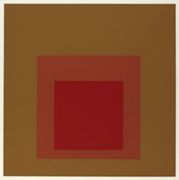 An abstract composition made up of three squares layered onto one another. The top square is crimson. Behind it is pale red then brown.