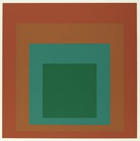 An abstract composition made up of four squares layered onto one another. The top square is dark green. Behind it is teal, light brown, then dark brown.