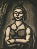 """A figure is depicted from the waist up. He stands with arms folded across his stomach and wears a helmet and necklace. This print is from the """"Miserere"""" series."""