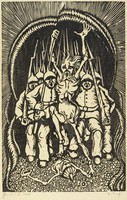 An emaciated figure marches forward in the center of the composition with his arms raised. Behind him marches an army of soldiers. They hold rifles. A figure lays trampled beneath their feet.