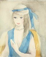A woman in a blue vest looks out and smales at the viewer. She wears a hat with a matching blue ribbon and a pearl necklace.