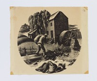 """Original wood engraving for Wedgwood plate designed by Clare Leighton,  """"Grist Milling"""" from the """"New England Industries"""" series"""