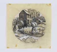 """Original sketch by Clare Leighton for Wedgwood plate design """"Grist Milling"""" from the """"New England Industries"""" series"""