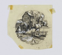 "Original sketch by Clare Leighton for Wedgwood plate design ""Grist Milling"" from the ""New England Industries"" series"