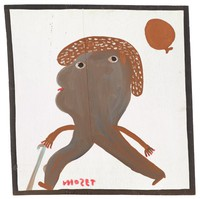 Untitled (Brown Man with Cane Walking), Mose Tolliver, paint on wood board