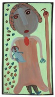 Untitled (Woman Holding Baby), Mose Tolliver, paint on wood board