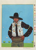 Native American man with hands on hips wears patterned shirt, beaded vest, felt hat, and cartridge belt around hips, stands against background of blue sky and green grass.
