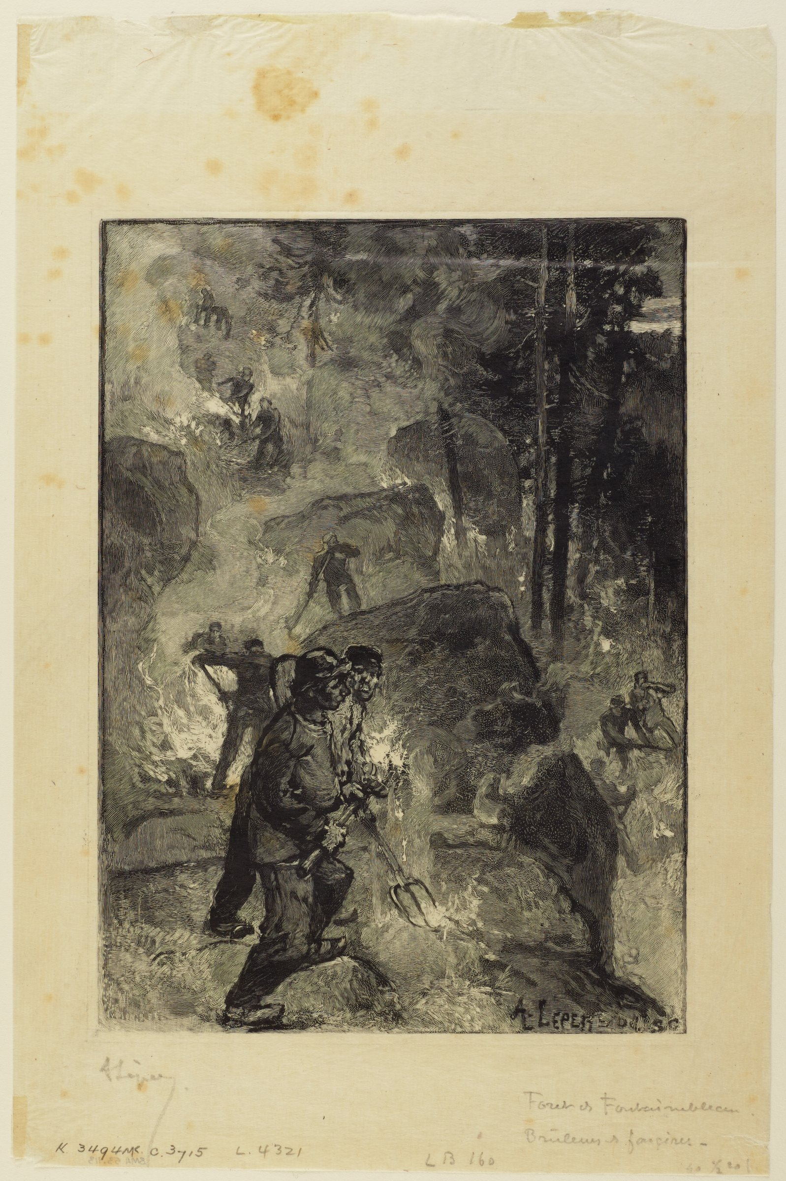 Multiple figures are scatterd throughout the composition working in a fiery environment. Two figures in the foreground are depicted with the greatest facial detail.