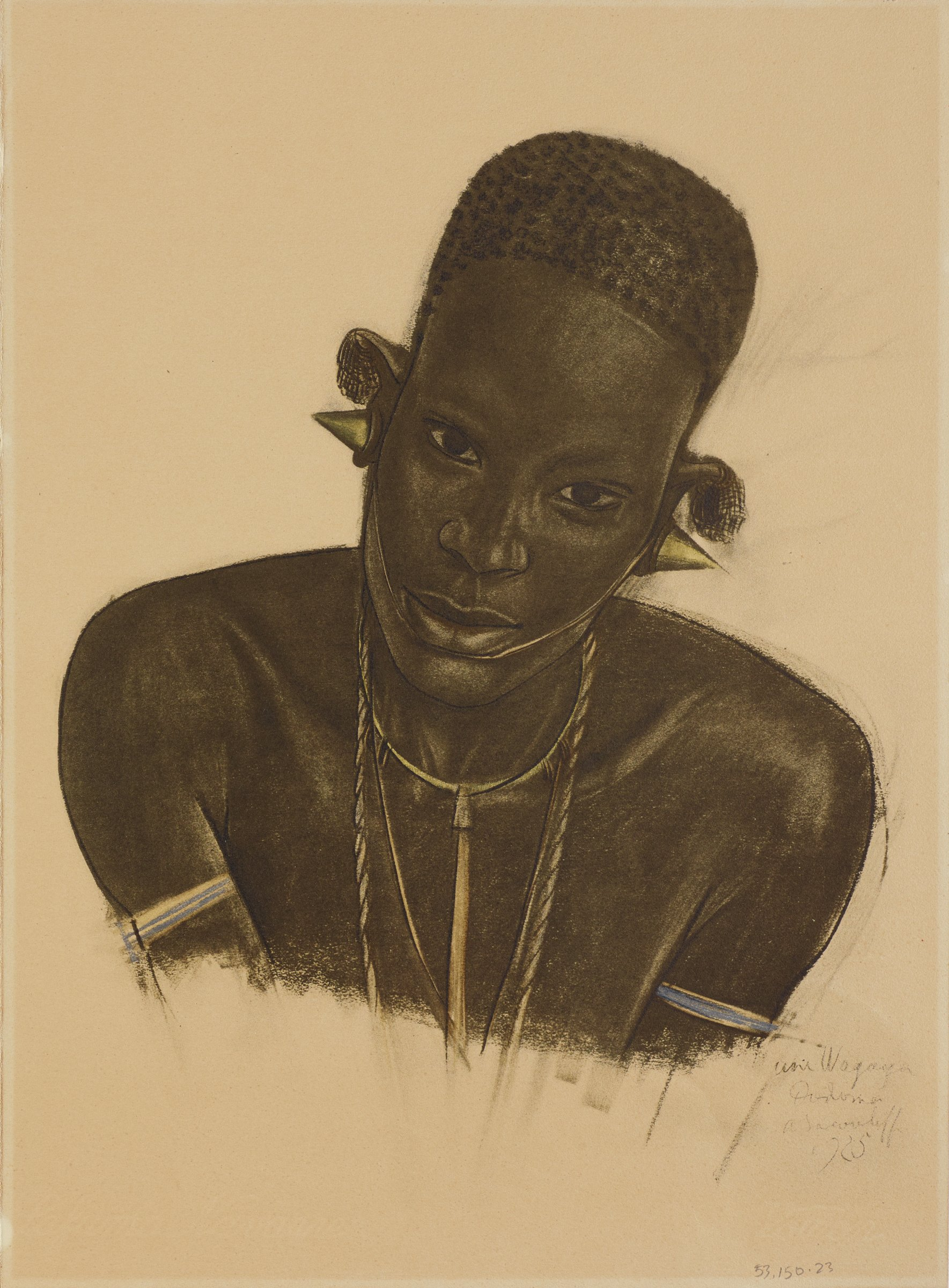 Portrait of a woman figure leaning slightly to the right and looking forward. She is adorned with various pieces of jewelry: conical earings, multiple necklaces, and an arm band on each arm. This series is a product of Jacovleff's involvement in the Expédition Citroën Centre-Afrique.