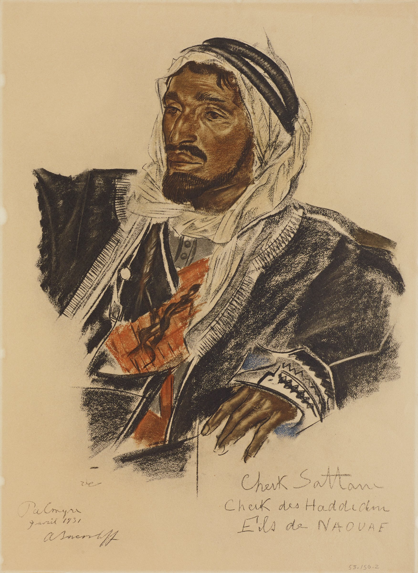 Half length portrait of a male figure. He faces slightly left. He wears a headwrap with a black robe that has decorated trim. Two ringlets of hair fall at his chest. This series is a product of Jacovleff's involvement in the Expédition Citroën Centre-Asie.