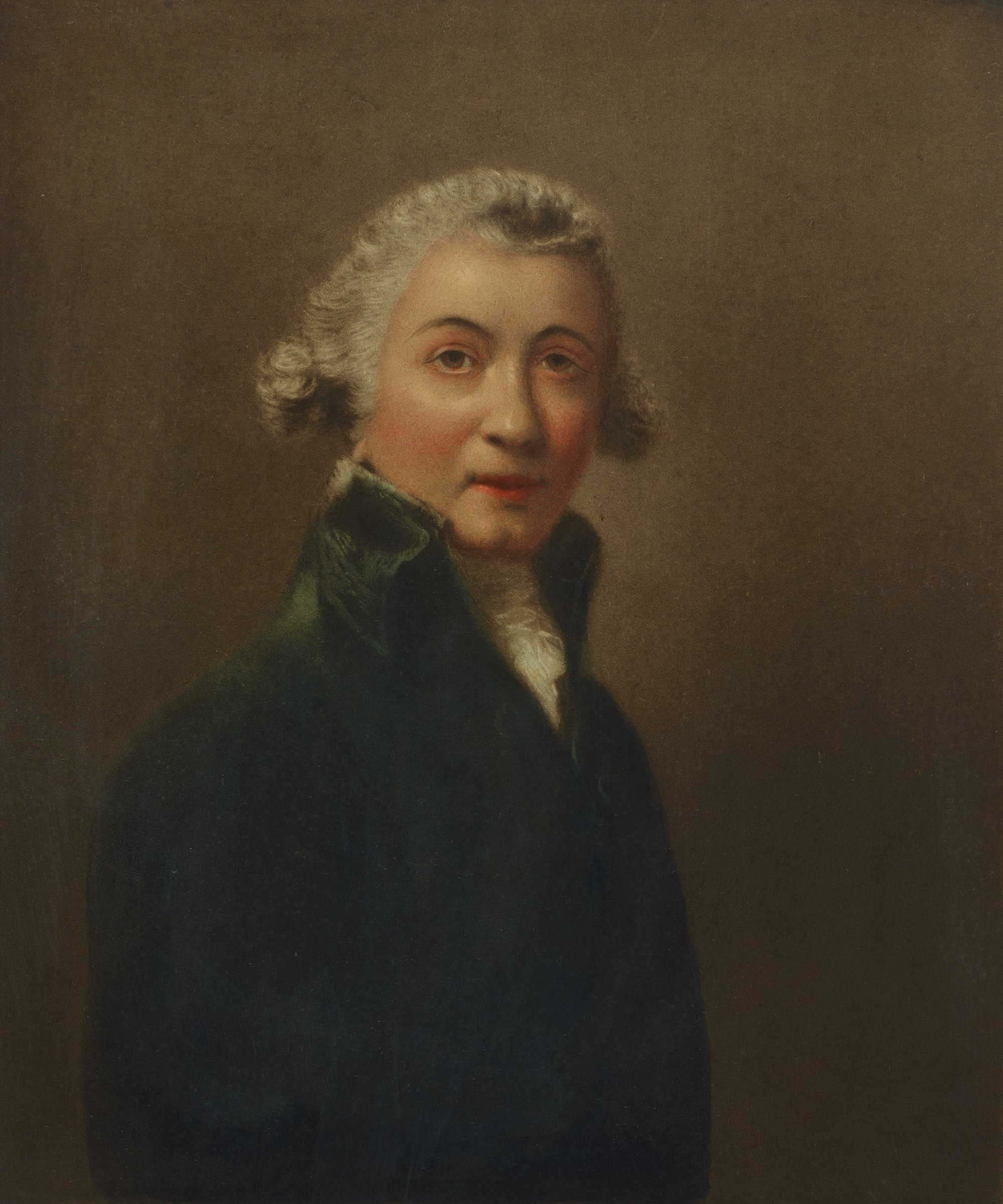 Half length portrait of Sir Joshua Reynolds. He is seen in a white wip with a dark colored jacket against a brown background.