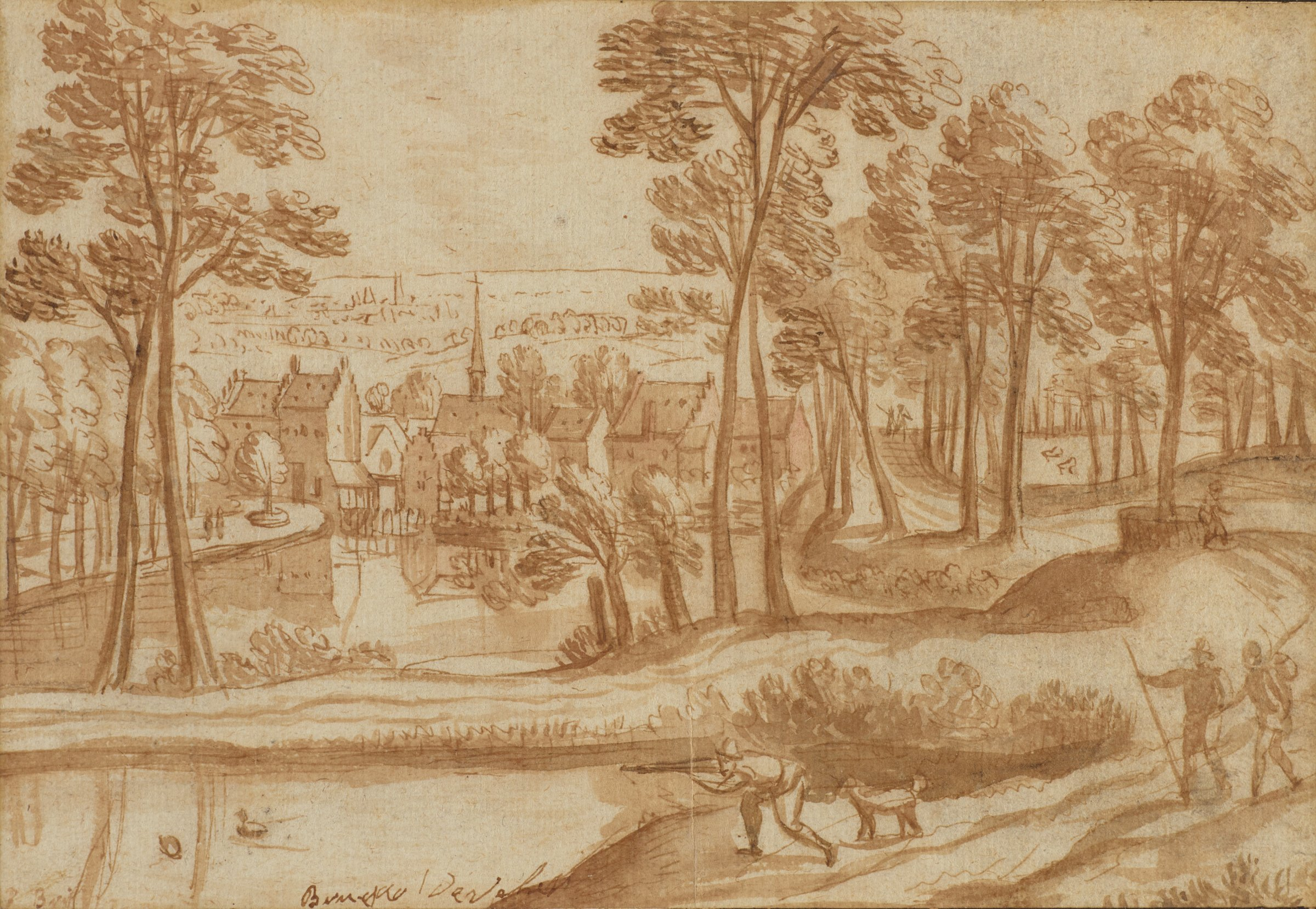 In the foreground is a wooded area with several figures engaged in activity. Beyond the woods is a village with a steepled church in the center.