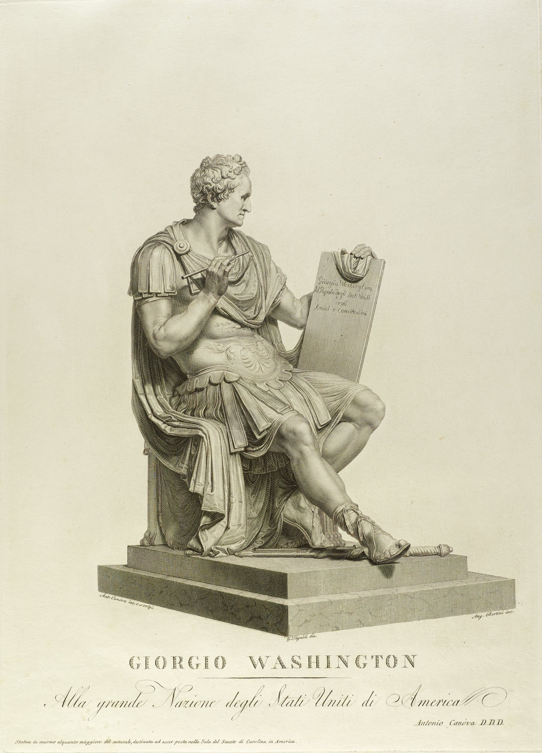 A man in Roman costume sits on a pedestal. He holds a table in his left hand and a writing utensil in his right hand.