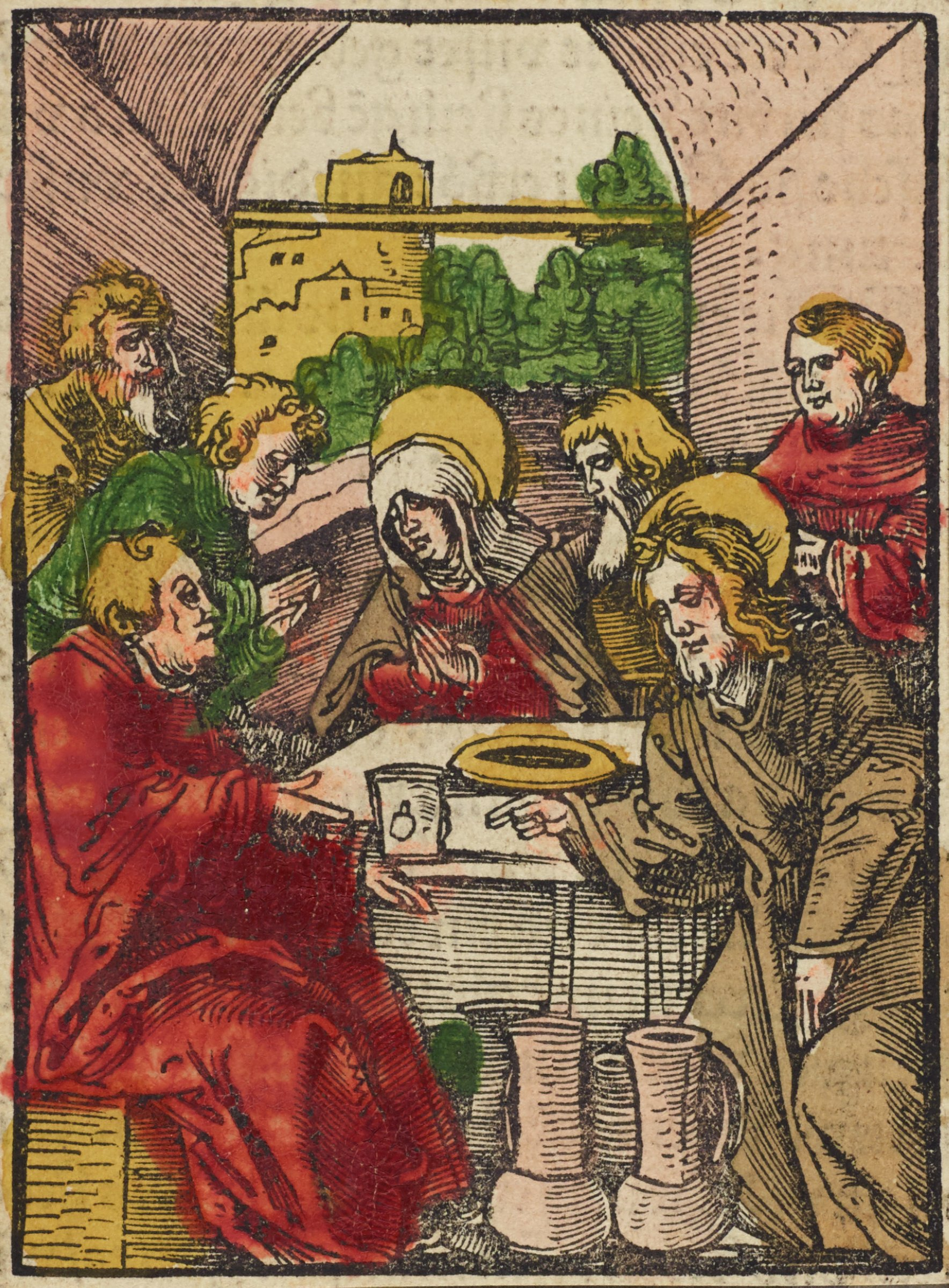Seven figures are gathered around a table in a small, vaulted room that is open in the back with a vista onto a cityscape. A woman, Mary, sits in the middle behind the table. A man in a red robe is sitting in the left foreground. Jesus is in the lower left with his proper right hand gesturing towards multiple jugs before him with a blessing gesture. The image is colored with yellow, green, red, and brown.
