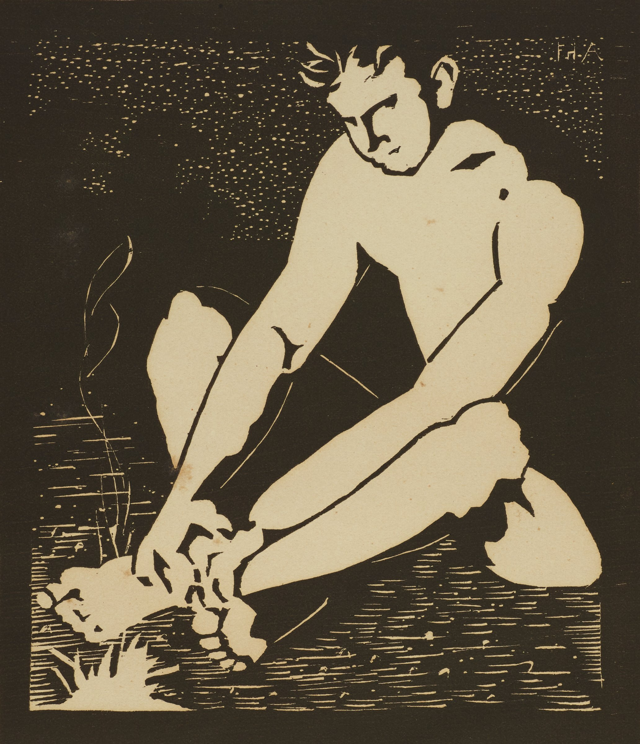 In this black and white print, a male figure sits with his ankles crossed and his hands resting on his ankles. He appears to be naked. In front of him in the lower left of the image is a small, smoking fire.