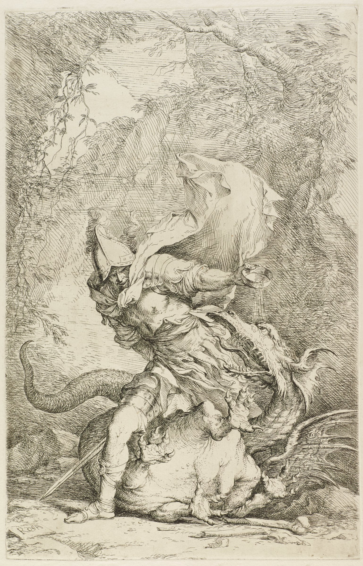 Jason the Argonaut stands over a dragon. His cape blows in the air as he pours a liquid onto the dragon's head. The dragon lays on his side, flailing and roaring.