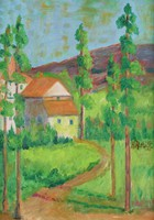 Landscape scene with house, road, pine tree and mountain