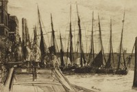 Billingsgate, James Abbott McNeill Whistler, etching on Japanese paper