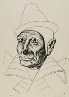 Old Clown, Jerry Bywaters, lithograph