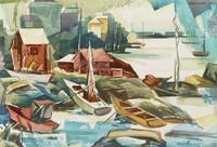 Stonington, Harry F. Lowe, watercolor