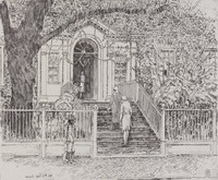 Chase House, Annapolis, Childe Hassam, etching, engraving