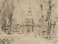 Independence Hall, Philadelphia, Childe Hassam, etching, engraving