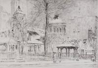 Little Church Around the Corner, Childe Hassam, etching
