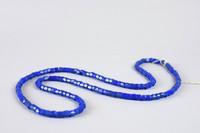 String of angular blue glass beads