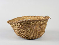 Round basket, open work weaving with handles, natural colors