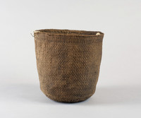 Spruce root, cylindrical berry basket. Cloth lugs, whole.
