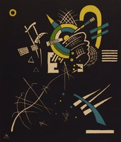 This abstract composition is made of various lines and geometric shapes. It is printed in blue, yellow, green and black.