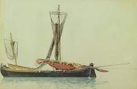 Fishing Boat, Blankenberg, William Stanley Haseltine, watercolor