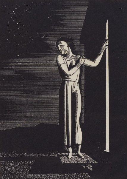 Starry Night, Rockwell Kent, Printed by Elmer Adler, wood engraving