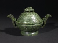 Covered Incense Burner in Ding Form with Taotie and Dragon Motifs, China, jade