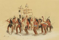 The Snow Shoe Dance, George Catlin, lithograph