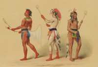Ball Players, George Catlin, lithograph