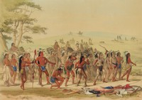Archery of the Mandans, George Catlin, lithograph