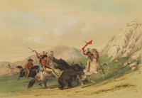 Attacking the Grizzly Bear, George Catlin, lithograph