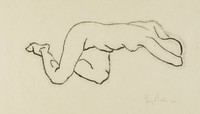 Crouching Nude, George Biddle, lithograph