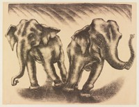 Dancing Elephants, George Biddle, Printed by Roberto Bulla, lithograph
