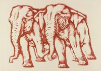 Two Elephants, George Biddle, Printed by Roberto Bulla, lithograph