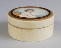 Small plain, round box of ivory with a portrait miniature of Madame Récamier (Juliette Récamier) after the painting by Jacques-Louis David, now in the Louvre, in gold mount.