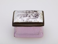 """Small rectangular enameled copper patch box with pink box, the lid white with the printed image of two female figures walking in a landscape with the motto, """"Constant to thee I'll ever be,"""" with metal mounts and inside the lid a mirror."""