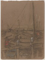 Boats in Harbor, Lucille Douglass, charcoal and pastel on paper