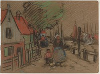 Houses, Boats, People, Lucille Douglass, pastel