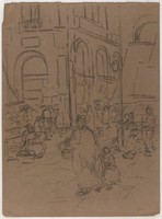 Figures in Market, Lucille Douglass, charcoal
