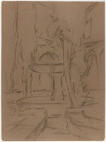 Fountain and Trees, Lucille Douglass, charcoal