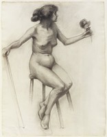 Charcoal drawing of figure on verso.