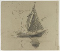 Sailboat with Color Notations, Lucille Douglass, pencil