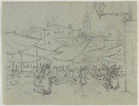 Open Air Market, Lucille Douglass, charcoal on blue machine-made laid paper